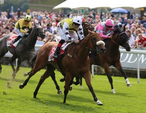 Dakota Gold ridden by Connor Beasley wins The Sky Bet And Symphony Group Stakes during Juddmonte International Day of the Yorkshire Ebor Festival at York Racecourse.