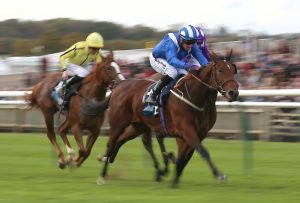 Huboor strides to victory in the British Stallion Studs EBF 'Jersey Lily' Fillies Nursery Handicap at Newmarket under Jim Crowley for trainer Mark Johnston (Nigel French/PA)