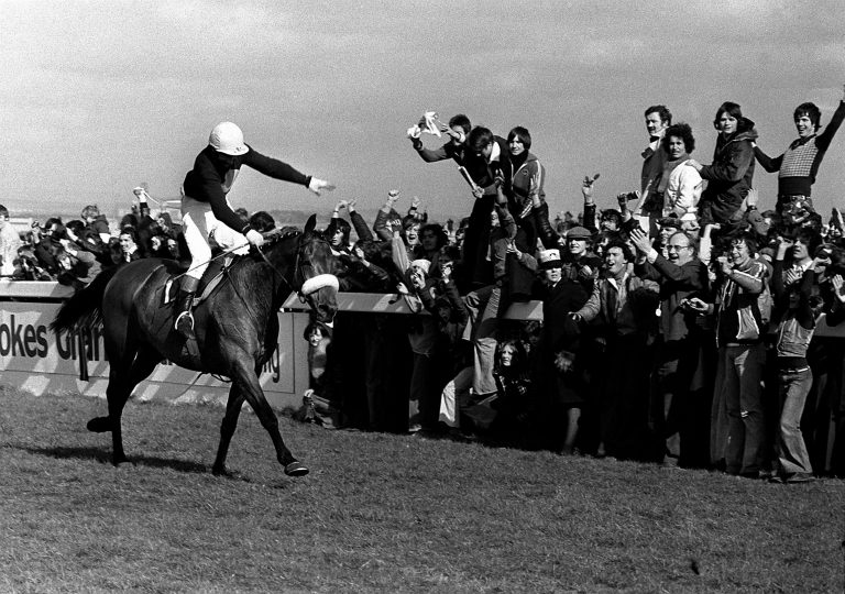 The crowd goes wild with joy as Red Rum, ridden by Tommy Stack, romps home to make history