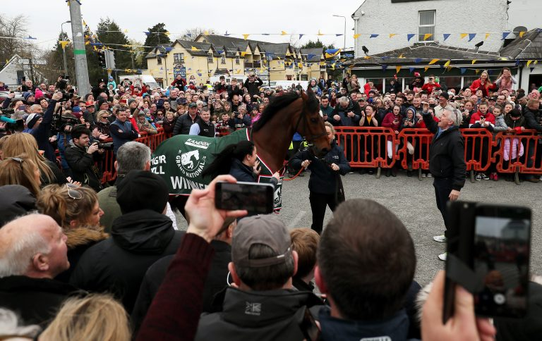 Tiger Roll returned home to Gordon Elliott's Summerhill base to a hero's welcome