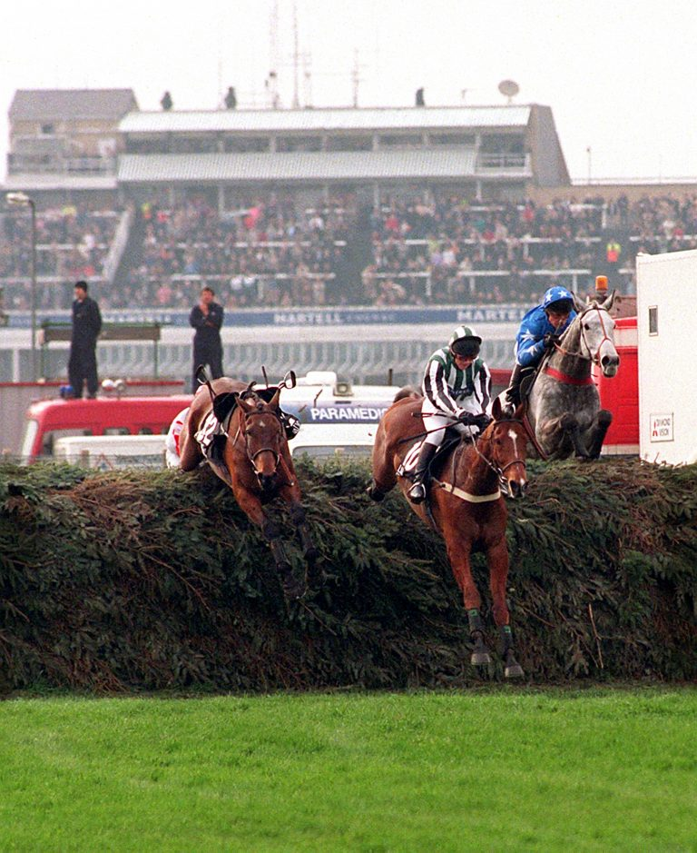 Tony Dobbin on Lord Gyllene jumps the last clear of Suny Bay to win the only Monday Grand National