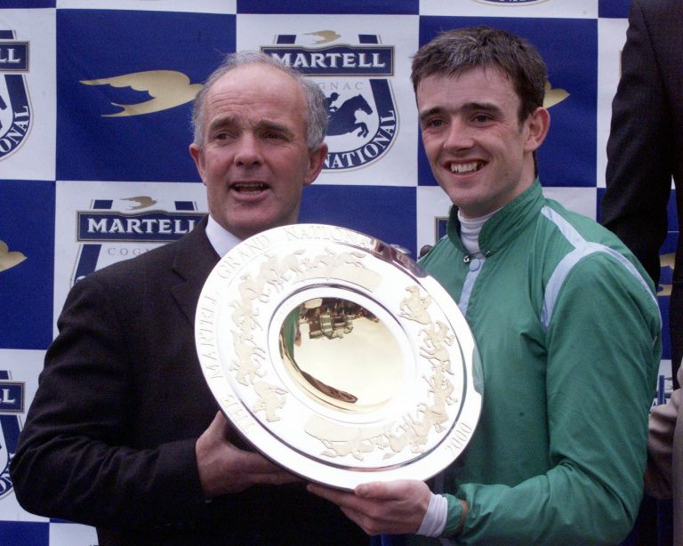 Trainer Ted Walsh with his son, Ruby, who landed an almighty gamble with Papillon